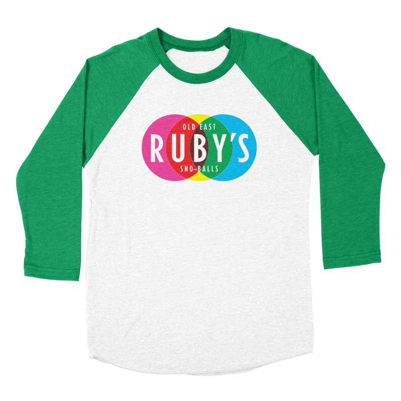Ruby's Full Color Logo in Men's Baseball Triblend Longsleeve T-Shirt Tri-Kelly Sleeves by Ruby's Sno-balls Merch