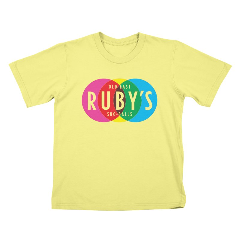 Ruby's Full Color Logo in Kids T-Shirt Canary by Ruby's Sno-balls Merch