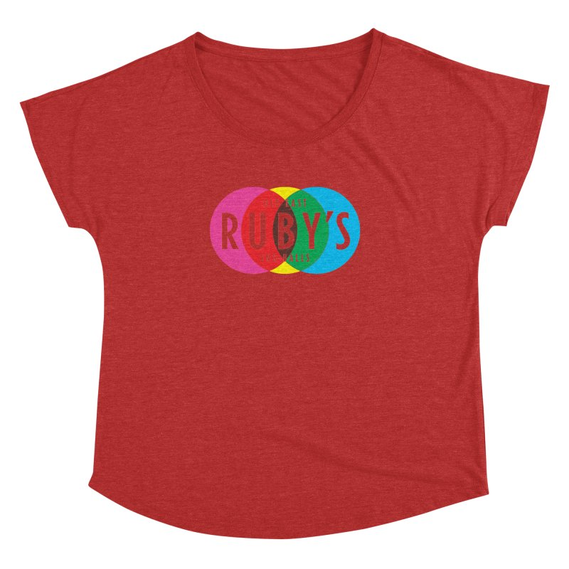 Ruby's Full Color Logo in Women's Dolman Scoop Neck Heather Red by Ruby's Sno-balls Merch