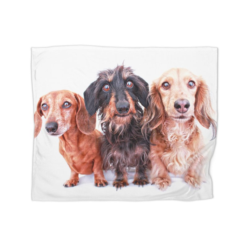 Dachshund Trio Home Fleece Blanket Blanket by rufusontheweb's Artist Shop