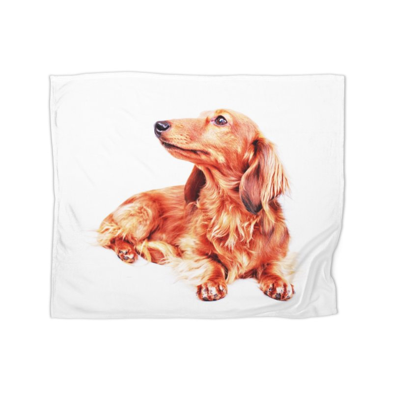 Longhair dachshund Home Fleece Blanket Blanket by rufusontheweb's Artist Shop
