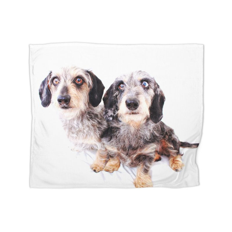 Wirehair dachshund duo Home Fleece Blanket Blanket by rufusontheweb's Artist Shop