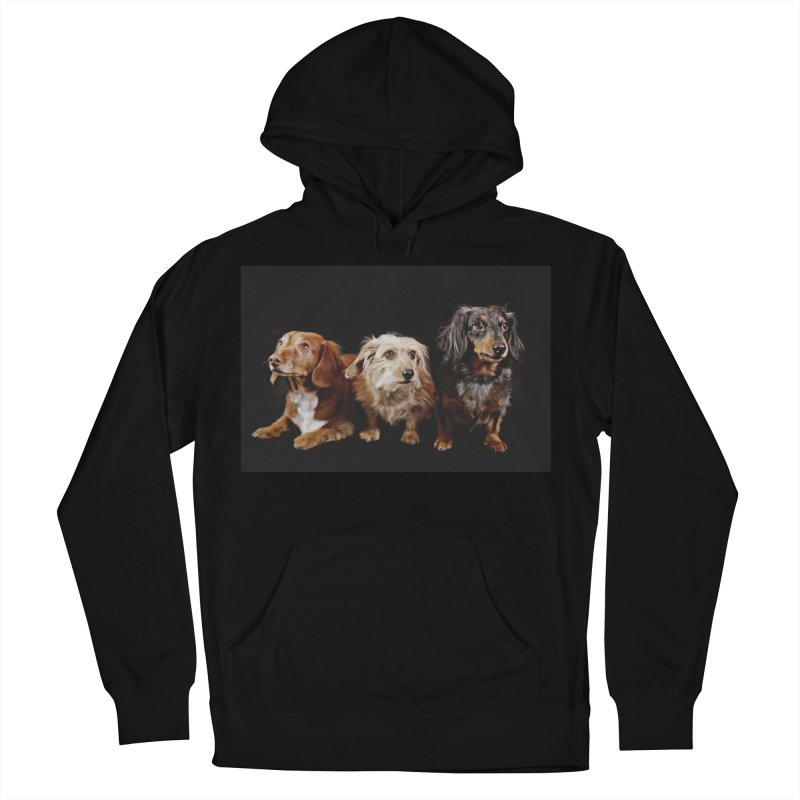 Longhair dachshunds Women's French Terry Pullover Hoody by rufusontheweb's Artist Shop