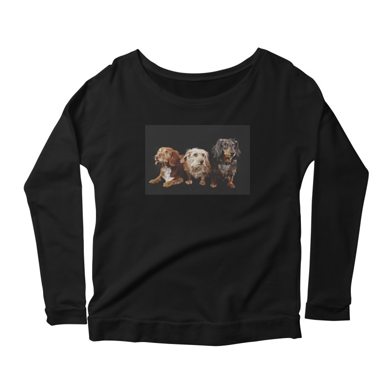 Longhair dachshunds Women's Scoop Neck Longsleeve T-Shirt by rufusontheweb's Artist Shop