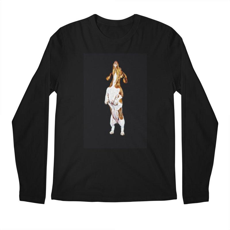 Piebald Dachshund (on black) Men's Longsleeve T-Shirt by rufusontheweb's Artist Shop