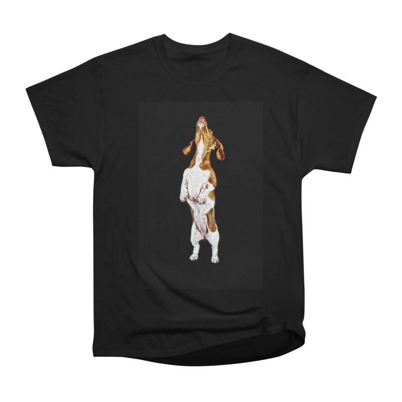 Piebald Dachshund (on black) Women's Heavyweight Unisex T-Shirt by rufusontheweb's Artist Shop