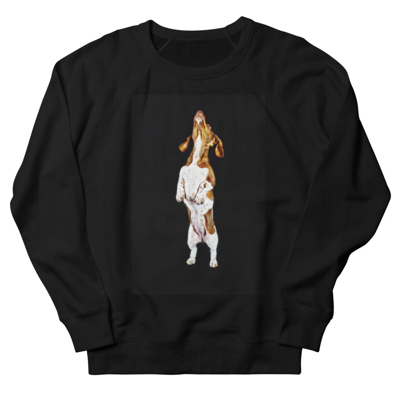 Piebald Dachshund (on black) Men's French Terry Sweatshirt by rufusontheweb's Artist Shop