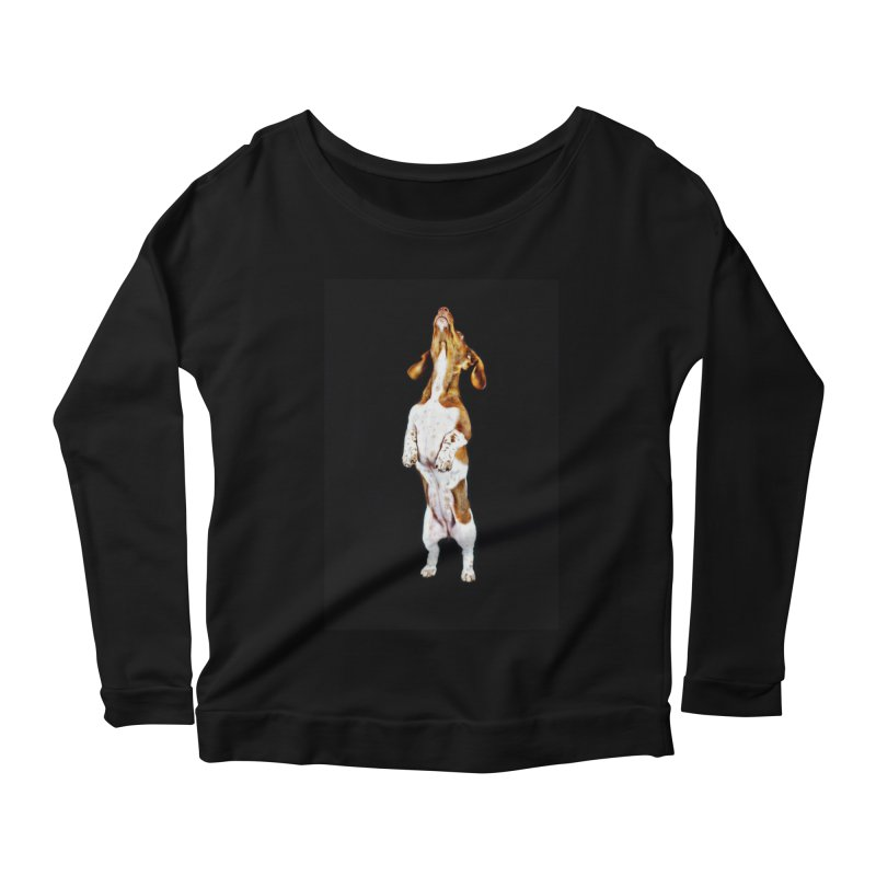 Piebald Dachshund (on black) Women's Scoop Neck Longsleeve T-Shirt by rufusontheweb's Artist Shop