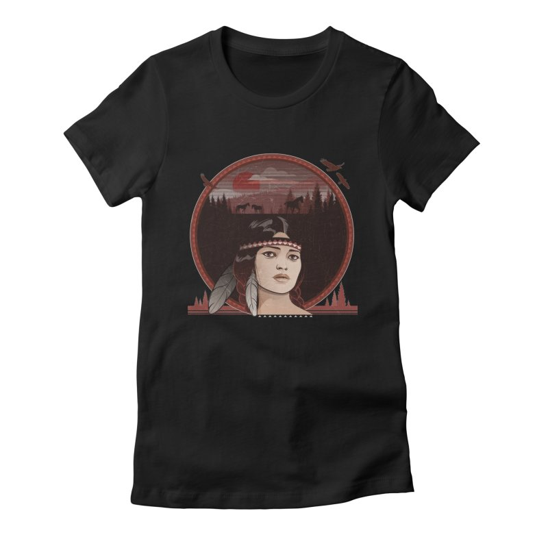 Native American Women's Fitted T-Shirt by rugiada's Artist Shop
