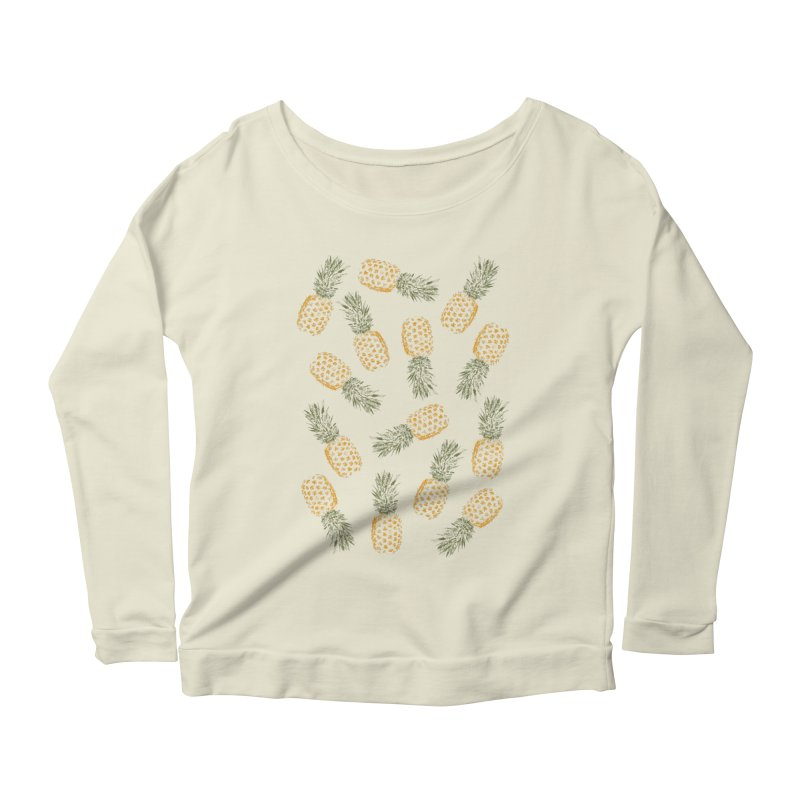 Pineapples Women's Longsleeve Scoopneck  by ruifaria's Artist Shop
