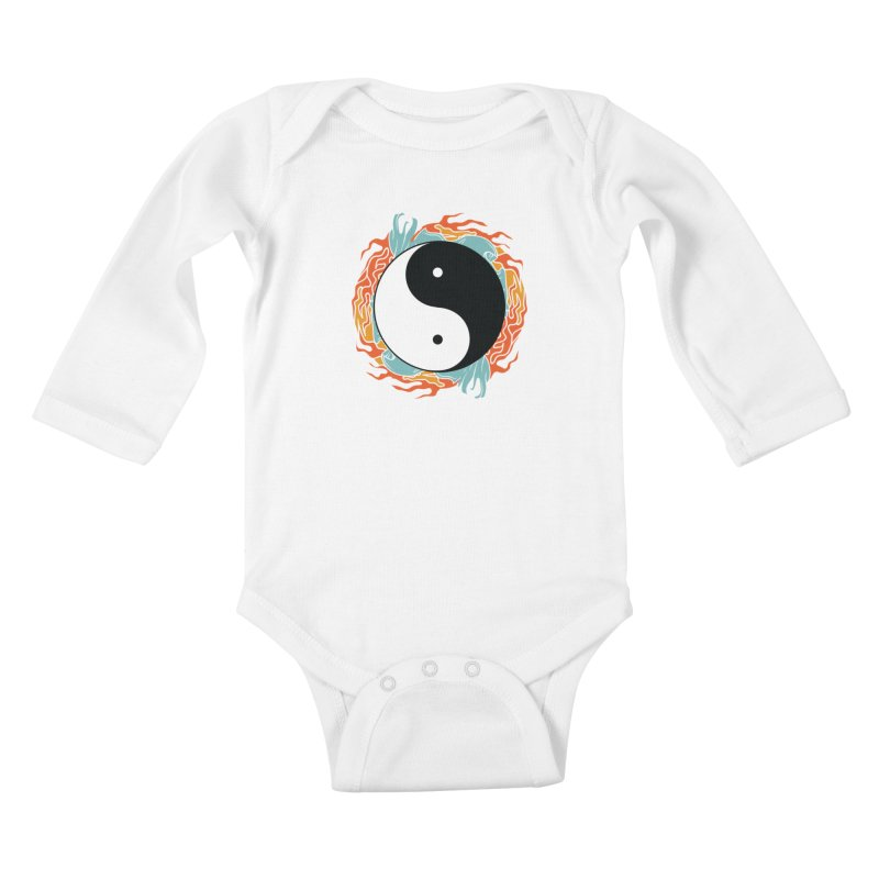 Yin-Yang Hidden Forces Kids Baby Longsleeve Bodysuit by ruifaria's Artist Shop