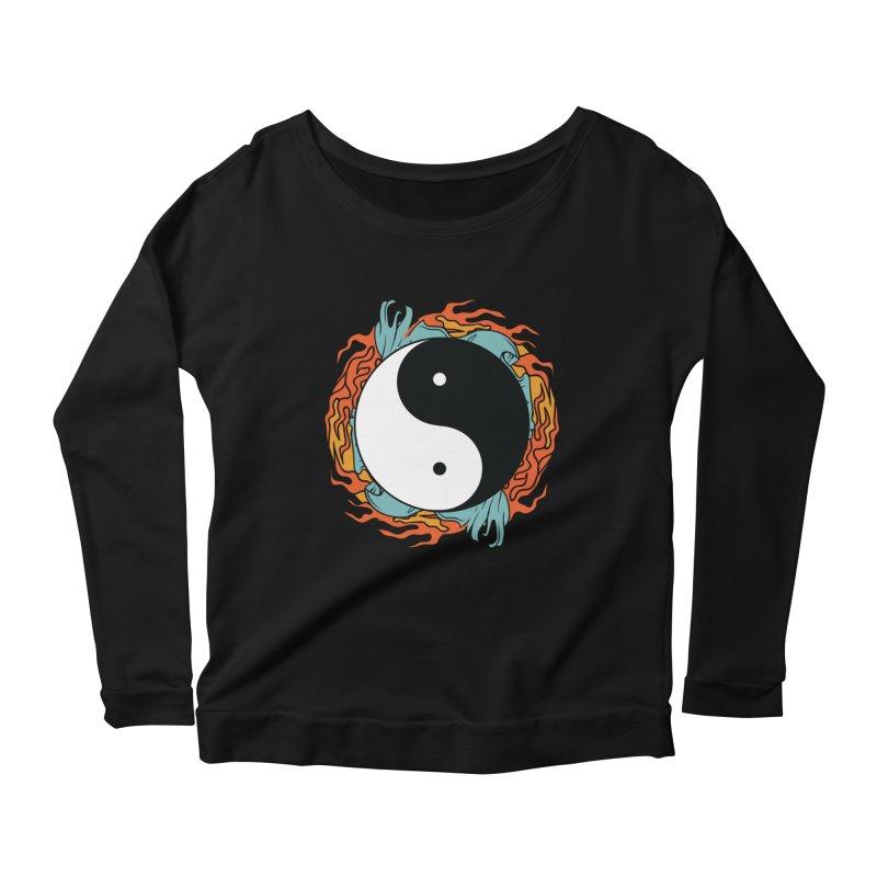 Yin-Yang Hidden Forces Women's Longsleeve Scoopneck  by ruifaria's Artist Shop