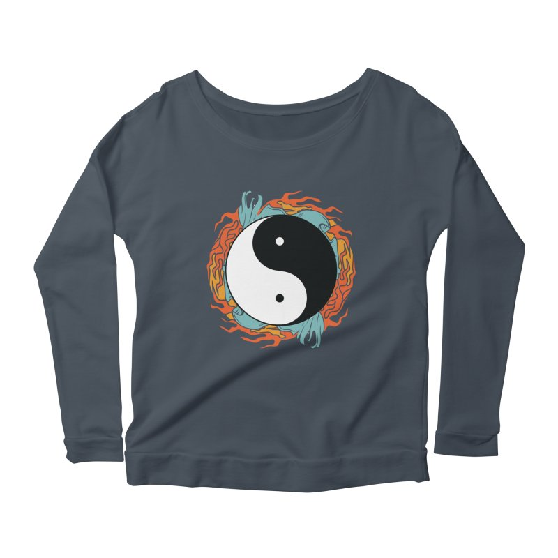 Yin-Yang Hidden Forces Women's Longsleeve Scoopneck  by ruifaria's Artist Shop