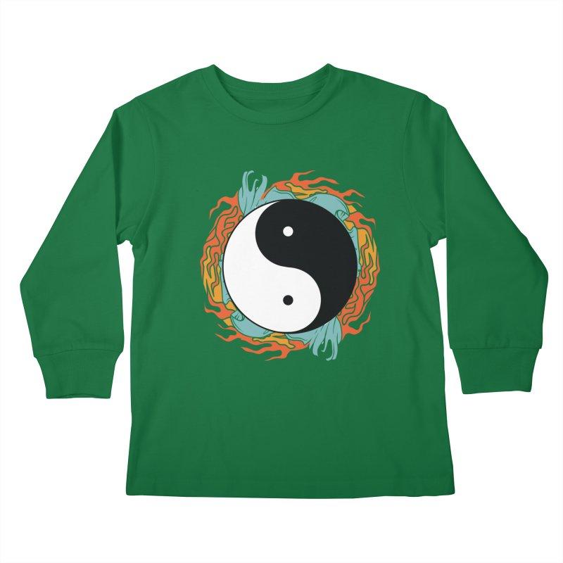 Yin-Yang Hidden Forces Kids Longsleeve T-Shirt by ruifaria's Artist Shop