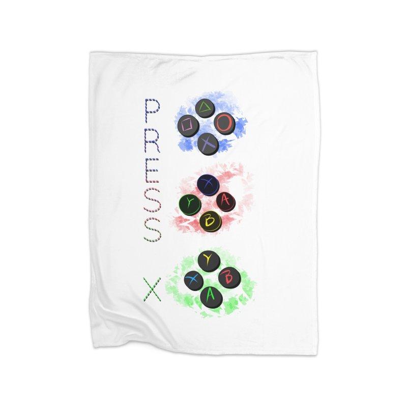 Press X Home Fleece Blanket Blanket by runjumpstomp's Artist Shop