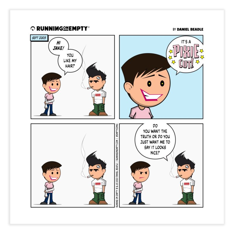 """""""Pixie Cut"""" Comic Print Home Fine Art Print by Running on Empty Store"""
