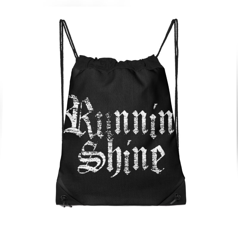 White Logo Accessories Drawstring Bag Bag by Runnin' Shine Store