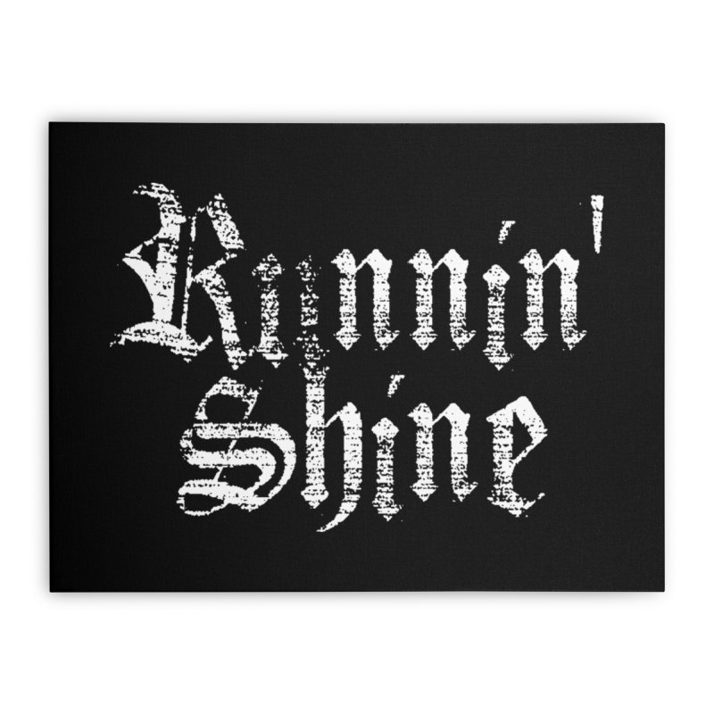 White Logo Home Stretched Canvas by Runnin' Shine Store
