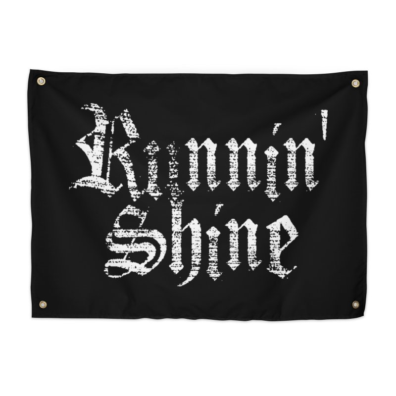 White Logo Home Tapestry by Runnin' Shine Store