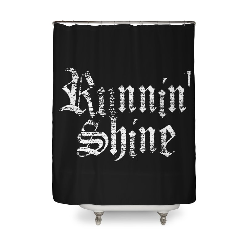 White Logo Home Shower Curtain by Runnin' Shine Store