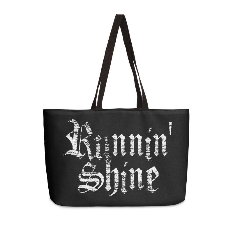 White Logo Accessories Weekender Bag Bag by Runnin' Shine Store