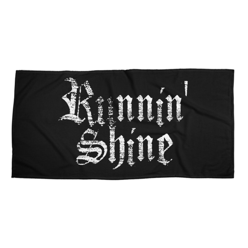 White Logo Accessories Beach Towel by Runnin' Shine Store