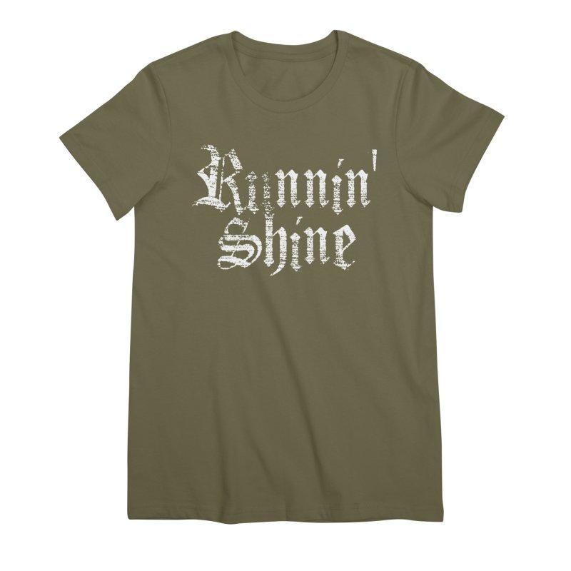 White Logo Women's Premium T-Shirt by Runnin' Shine Store