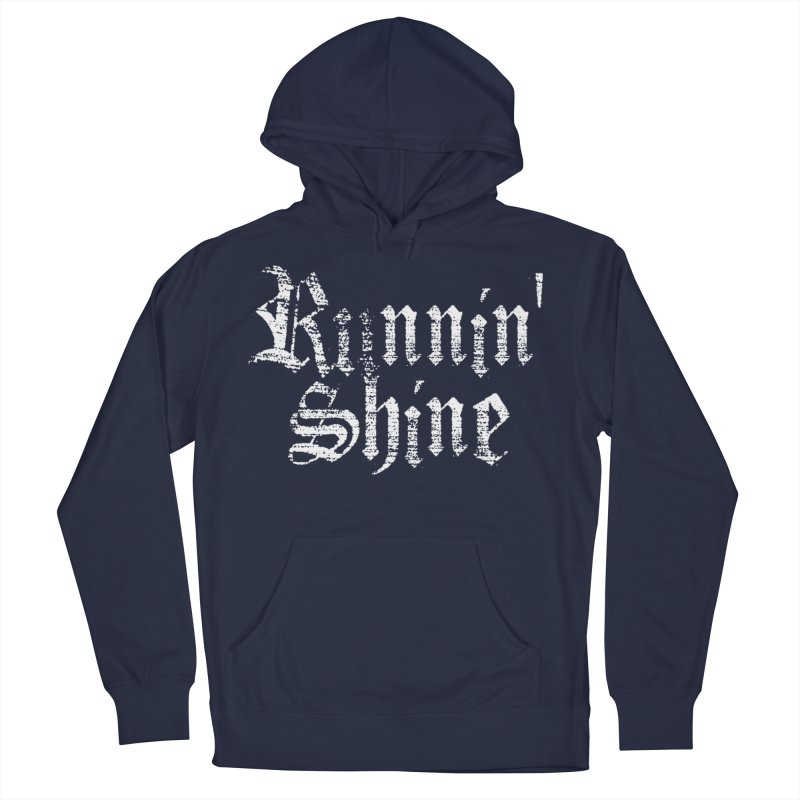White Logo Men's French Terry Pullover Hoody by Runnin' Shine Store
