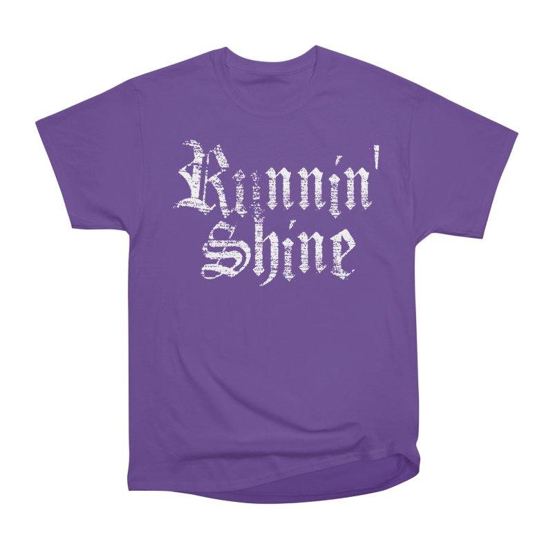 White Logo Women's Heavyweight Unisex T-Shirt by Runnin' Shine Store