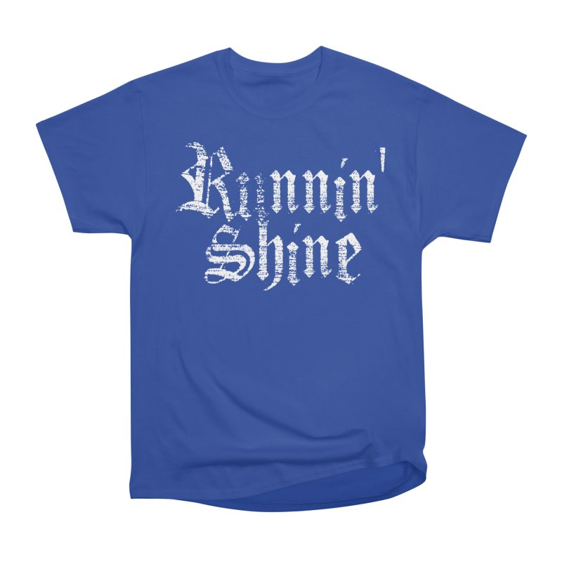 White Logo Men's Heavyweight T-Shirt by Runnin' Shine Store