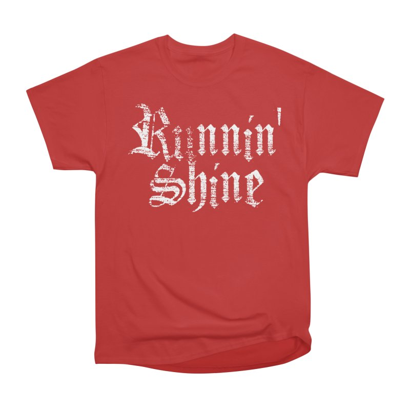 White Logo Women's Heavyweight Unisex T-Shirt by Runnin' Shine Store