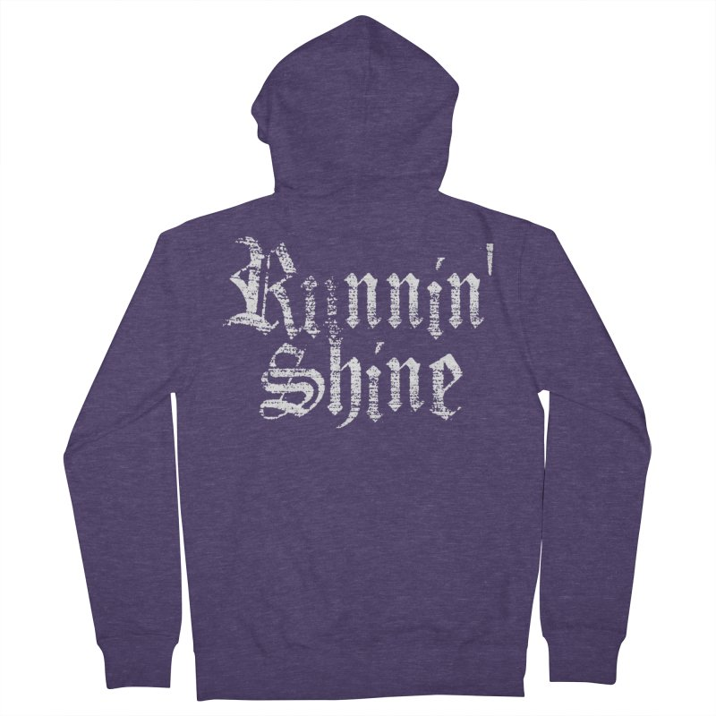 White Logo Men's French Terry Zip-Up Hoody by Runnin' Shine Store
