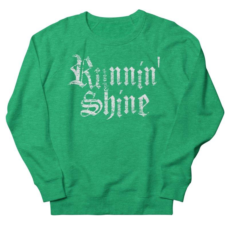 White Logo Men's French Terry Sweatshirt by Runnin' Shine Store