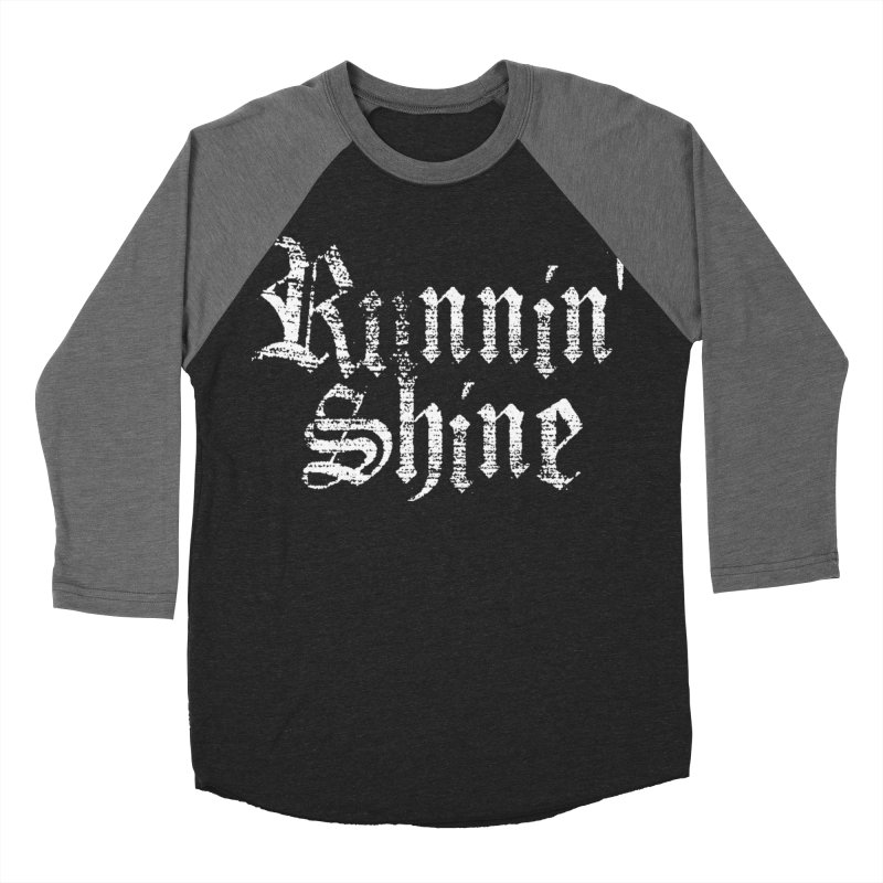 White Logo Men's Baseball Triblend Longsleeve T-Shirt by Runnin' Shine Store