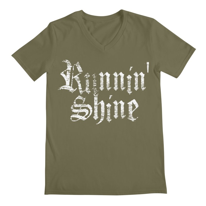 White Logo Men's Regular V-Neck by Runnin' Shine Store