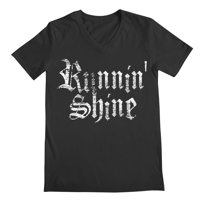White Logo Men's Regular V-Neck by Runnin' Shine Store