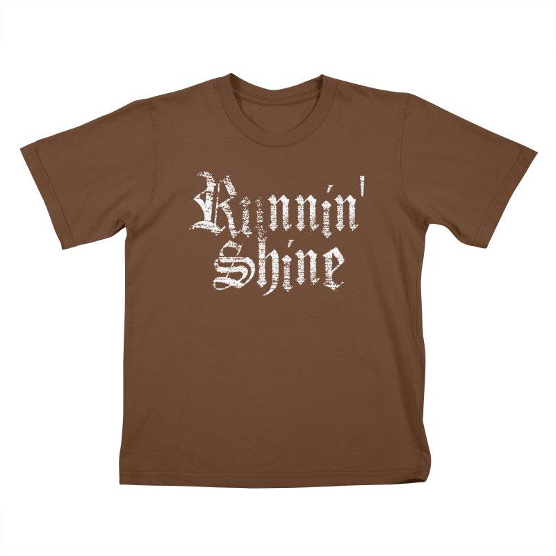 White Logo Kids T-Shirt by Runnin' Shine Store