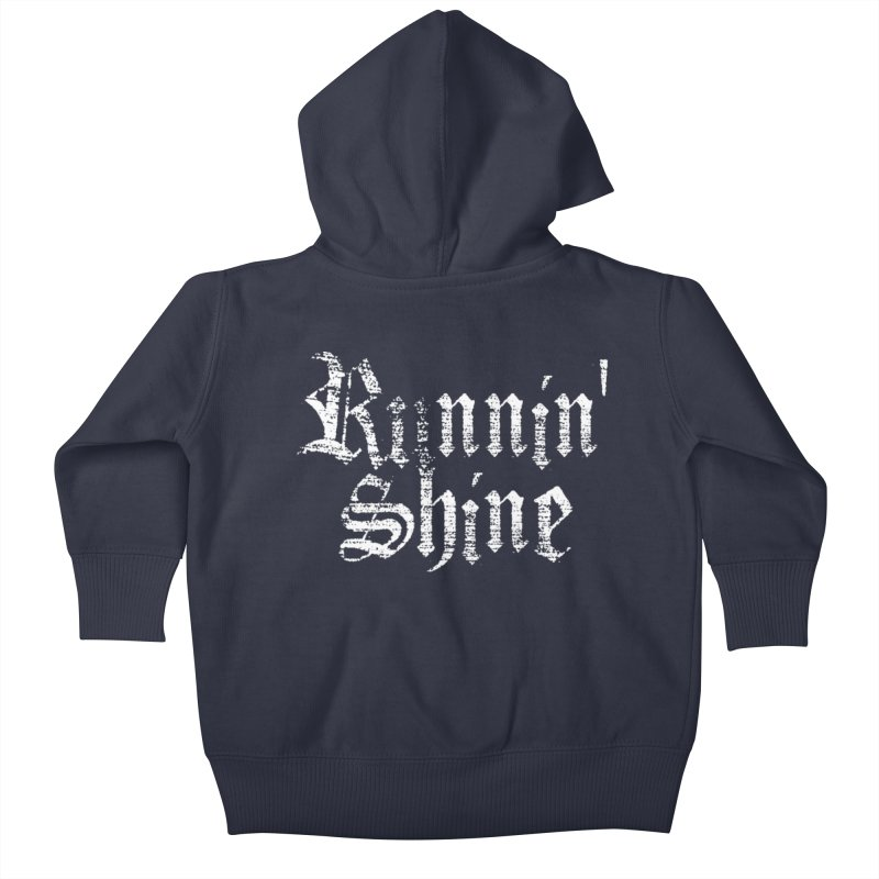 White Logo Kids Baby Zip-Up Hoody by Runnin' Shine Store