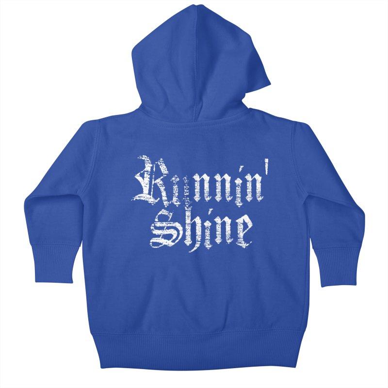 White Logo Kids Baby Zip-Up Hoody by Runnin' Shine Store