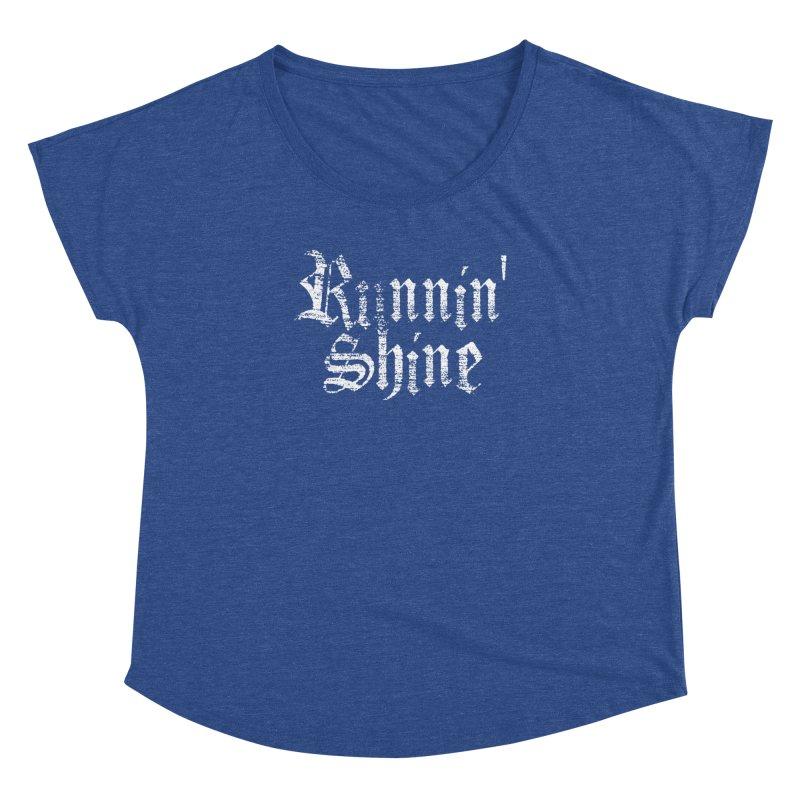 White Logo Women's Dolman Scoop Neck by Runnin' Shine Store