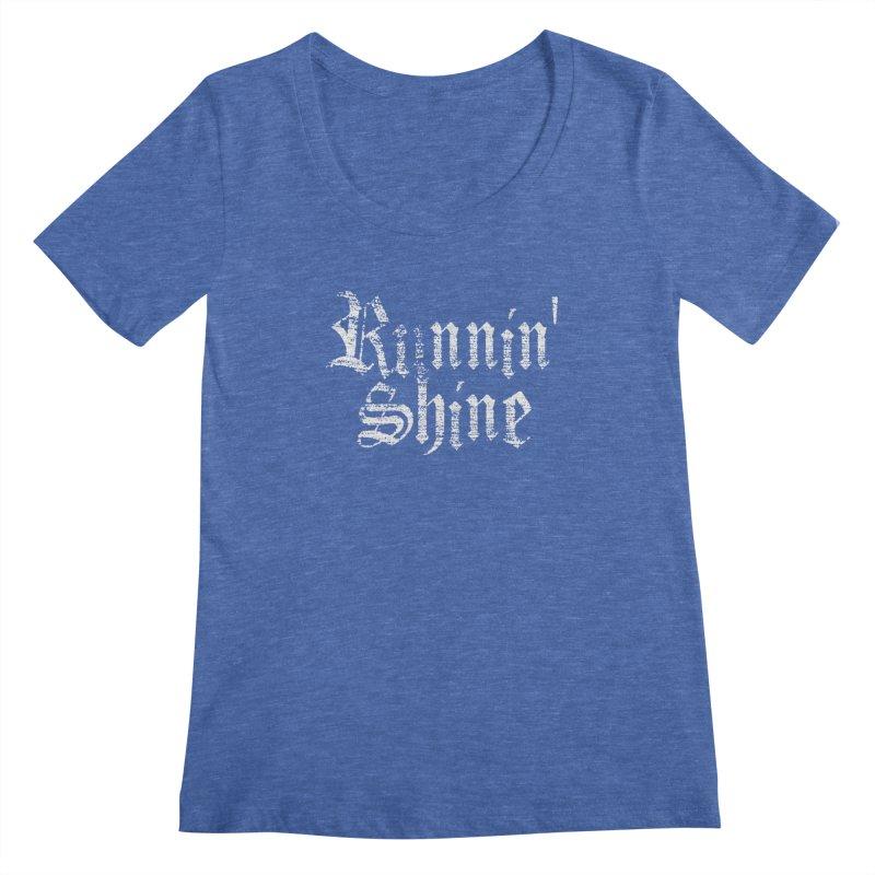 White Logo Women's Regular Scoop Neck by Runnin' Shine Store