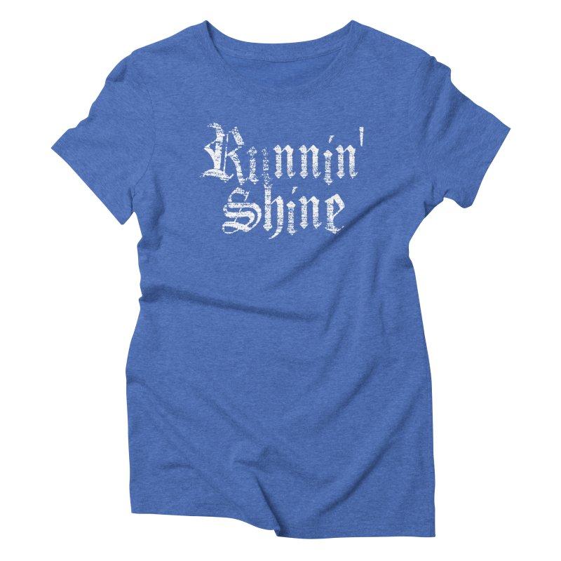White Logo Women's Triblend T-Shirt by Runnin' Shine Store