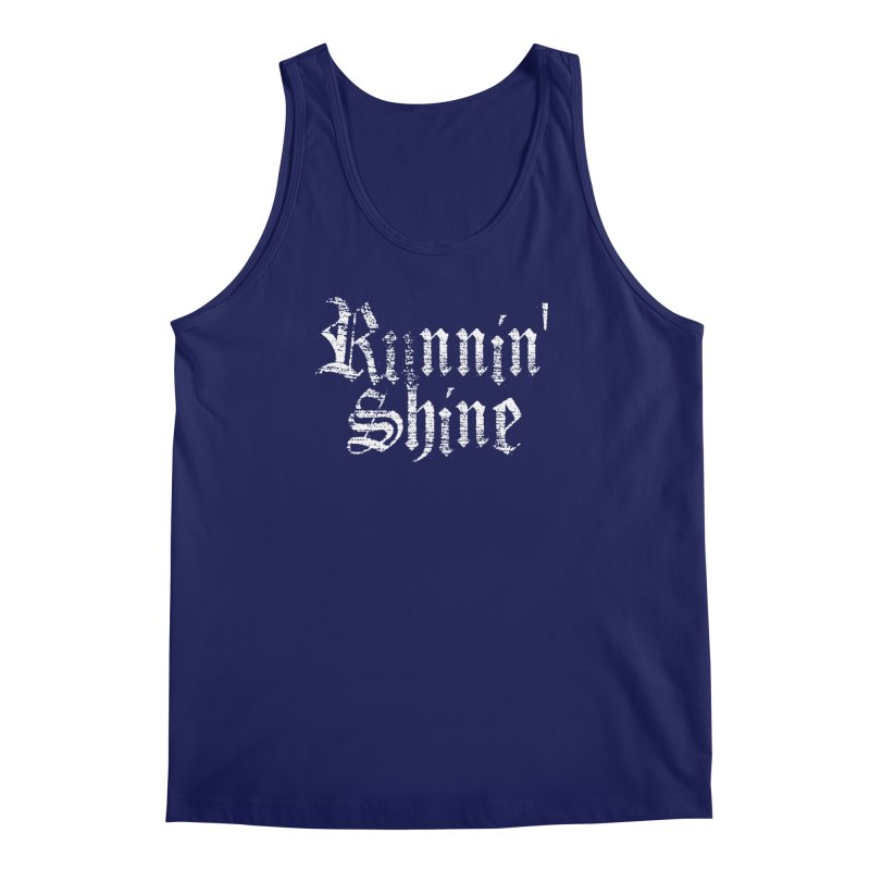 White Logo Men's Regular Tank by Runnin' Shine Store