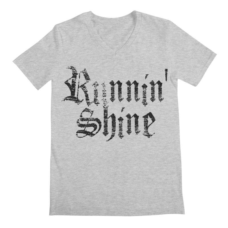 Black Logo Men's Regular V-Neck by Runnin' Shine Store