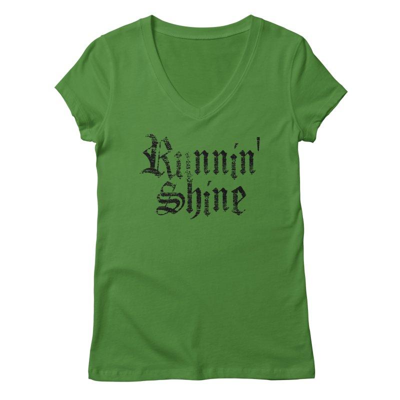 Black Logo Women's Regular V-Neck by Runnin' Shine Store