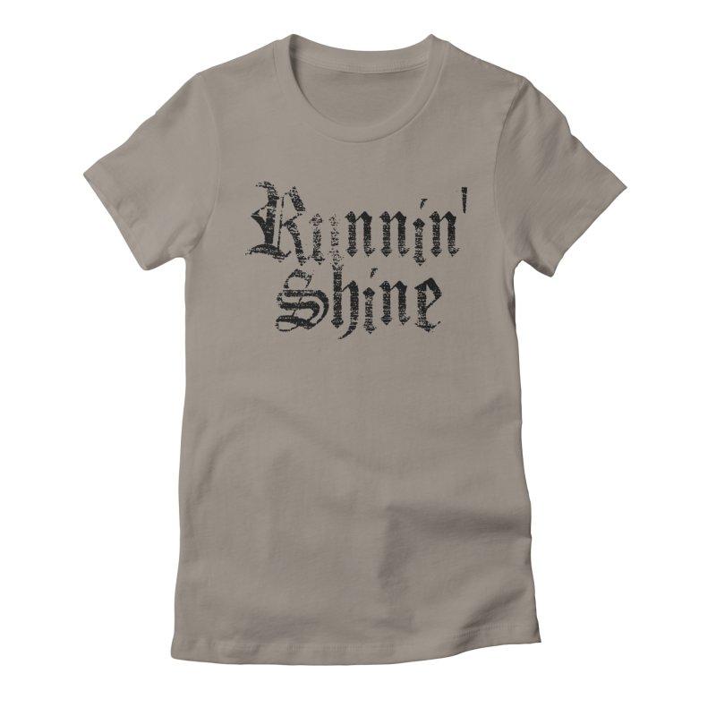 Black Logo Women's Fitted T-Shirt by Runnin' Shine Store