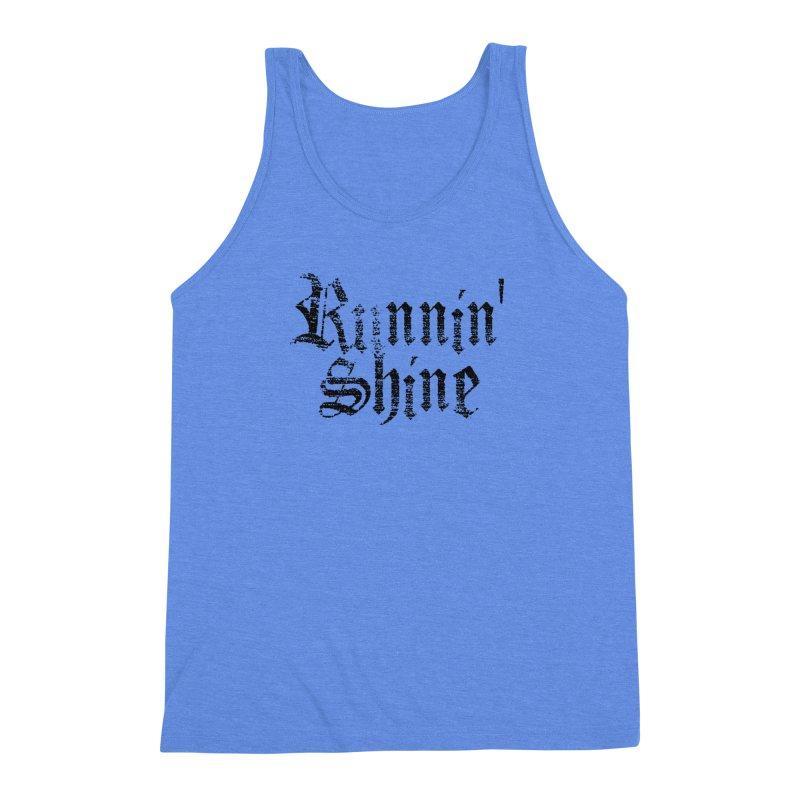 Black Logo Men's Triblend Tank by Runnin' Shine Store