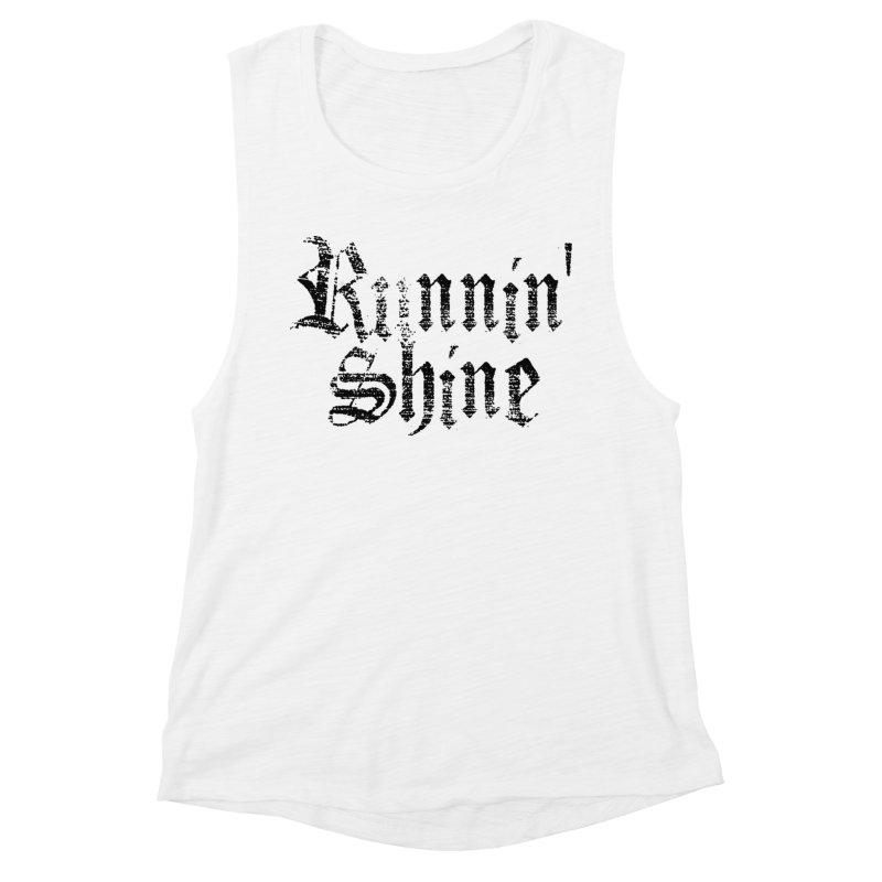 Black Logo Women's Muscle Tank by Runnin' Shine Store