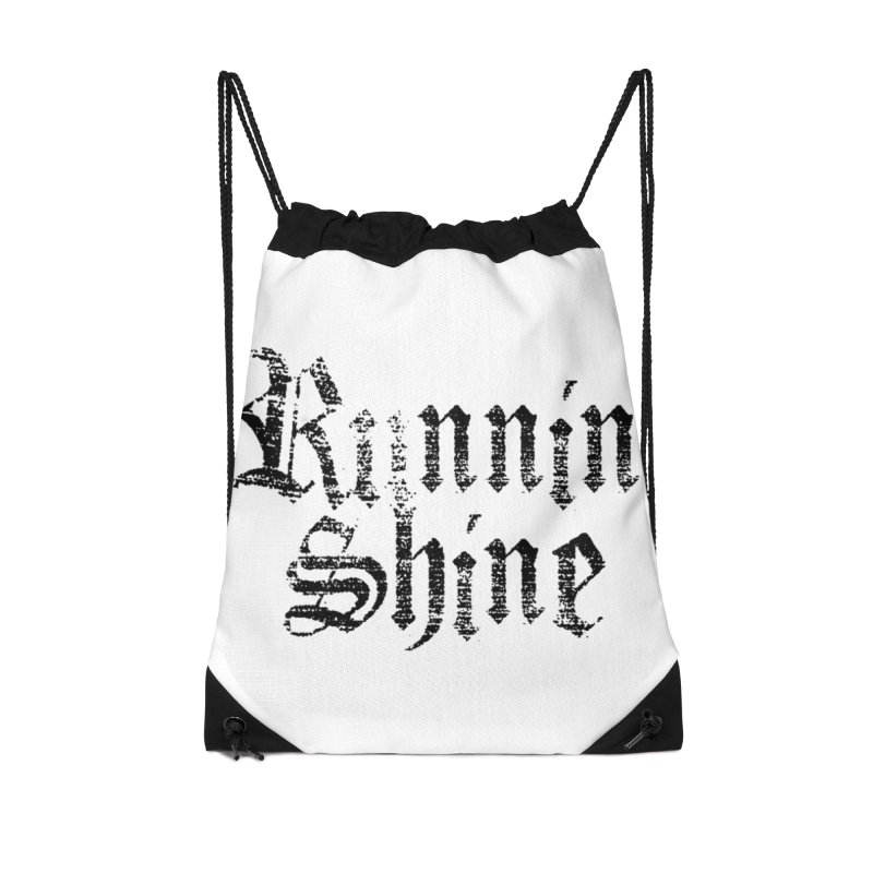 Black Logo Accessories Drawstring Bag Bag by Runnin' Shine Store
