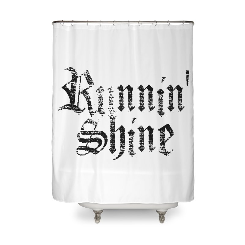Black Logo Home Shower Curtain by Runnin' Shine Store